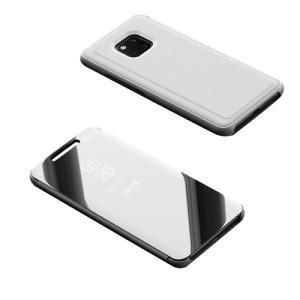 Θήκη HUAWEI Mate 20 Pro OEM Mirror Surface View Stand Case Cover Flip Window από σκληρό πλαστικό και δερματίνη ασημί