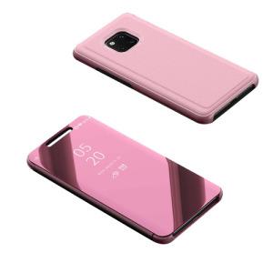 Θήκη HUAWEI Mate 20 Pro OEM Mirror Surface View Stand Case Cover Flip Window από σκληρό πλαστικό και δερματίνη ροζ
