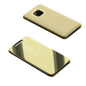 Θήκη HUAWEI Mate 20 Pro OEM Mirror Surface View Stand Case Cover Flip Window από σκληρό πλαστικό και δερματίνη χρυσό