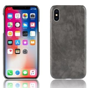Θήκη iPhone XR OEM Litchi Skin Leather Plastic Series πλάτη δερματίνη γκρι