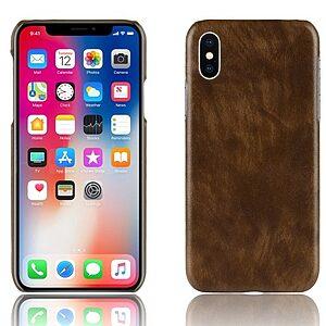 Θήκη iPhone XR OEM Litchi Skin Leather Plastic Series πλάτη δερματίνη καφέ