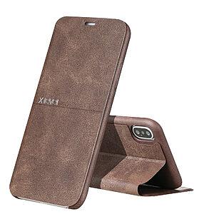 Θήκη iPhone XR X-LEVEL Extreme Series Leather με βάση στήριξης Flip Wallet δερμάτινη καφέ