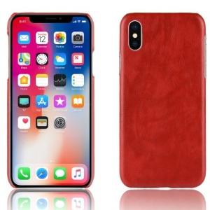 Θήκη iPhone XR OEM Litchi Skin Leather Plastic Series πλάτη δερματίνη κόκκινο