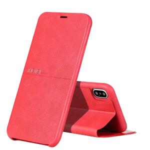 Θήκη iPhone XR X-LEVEL Extreme Series Leather με βάση στήριξης Flip Wallet δερμάτινη κόκκινο
