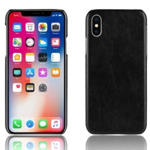 Θήκη iPhone XR OEM Litchi Skin Leather Plastic Series πλάτη δερματίνη μαύρο