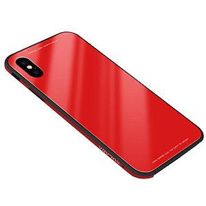 Θήκη iPhone XR SULADA Tempered Glass Hybrid Series πλάτη μεταλλική κόκκινο