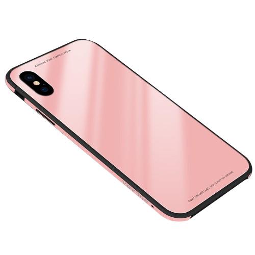 Θήκη iPhone XR SULADA Tempered Glass Hybrid Series πλάτη μεταλλική ροζ