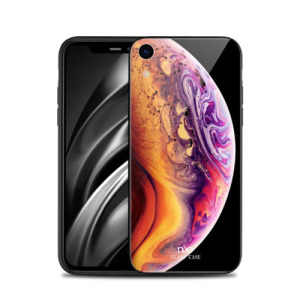 Θήκη iPhone XR NXE Streamer light Tempered Glass Series - Earth Orange / Light Purple πλάτη TPU