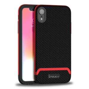 Θήκη iPhone XR IPAKY Two Piece Hybrid Carbon Fiber πλάτη TPU κόκκινο