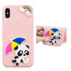 Θήκη iPhone XR OEM σχέδιο Cute Panda holding Umbrella πλάτη TPU ροζ