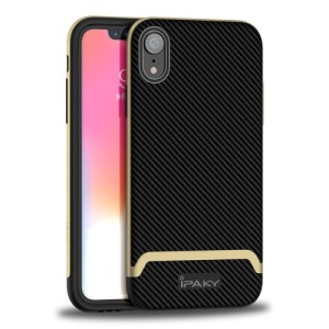 Θήκη iPhone XR IPAKY Two Piece Hybrid Carbon Fiber πλάτη TPU χρυσό