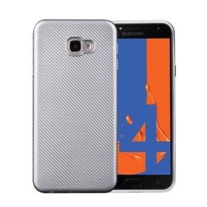 Θήκη Samsung Galaxy J4 Plus OEM Carbon Fiber Texture πλάτη TPU ασημί