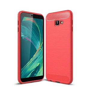 Θήκη Samsung Galaxy J4 Plus OEM Brushed TPU Carbon πλάτη ανοιχτό κόκκινο
