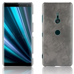 Θήκη SONY Xperia XZ3 OEM Litchi Skin Leather Plastic Series πλάτη δερματίνη γκρι