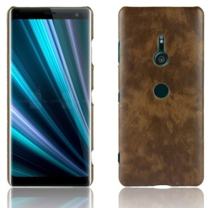 Θήκη SONY Xperia XZ3 OEM Litchi Skin Leather Plastic Series πλάτη δερματίνη καφέ