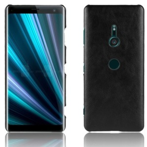 Θήκη SONY Xperia XZ3 OEM Litchi Skin Leather Plastic Series πλάτη δερματίνη μαύρο