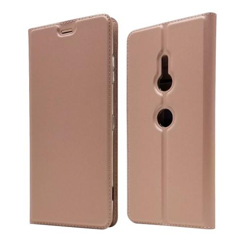 υποδοχή καρτών και μαγνητικό κούμπωμα Flip Wallet δερματίνη ροζ / χρυσό