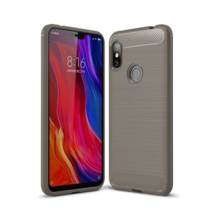 Θήκη XIAOMI Redmi Note 6 Pro OEM Brushed TPU Carbon πλάτη γκρι