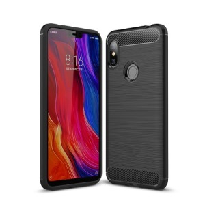 Θήκη XIAOMI Redmi Note 6 Pro OEM Brushed TPU Carbon πλάτη μαύρο