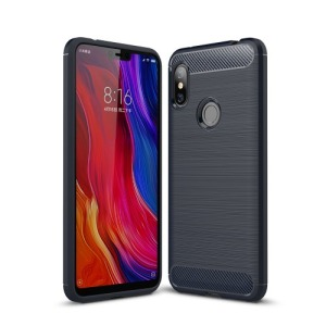 Θήκη XIAOMI Redmi Note 6 Pro OEM Brushed TPU Carbon πλάτη μπλε
