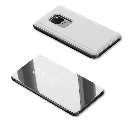 Θήκη Huawei Mate 20 OEM Mirror Surface View Stand Case Cover Flip Window δερματίνη ασημί