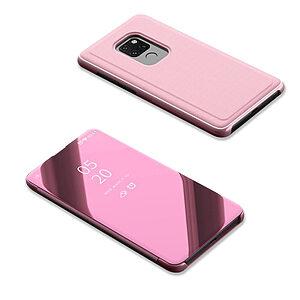 Θήκη Huawei Mate 20 OEM Mirror Surface View Stand Case Cover Flip Window δερματίνη ροζ