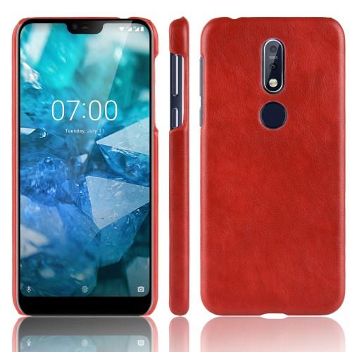 Θήκη Nokia 7.1 OEM Litchi Skin Leather Plastic Series Πλάτη δερματίνη κόκκινο