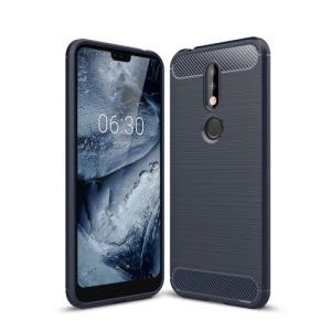 Θήκη Nokia 7.1 OEM Brushed TPU Carbon Πλάτη μπλε σκούρο