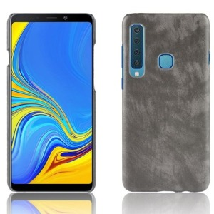Θήκη Samsung Galaxy A9 (2018) OEM Litchi Skin Leather Plastic Series Πλάτη δερματίνη γκρι