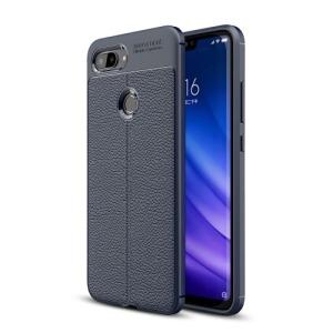 Θήκη Xiaomi Mi 8 Lite OEM Focus Litchi Skin Series Πλάτη TPU μπλε