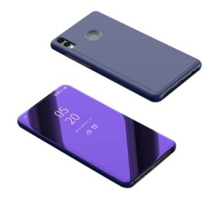 Θήκη Huawei Honor 8X OEM Mirror Surface View Stand Case Cover Flip Window δερματίνη μωβ