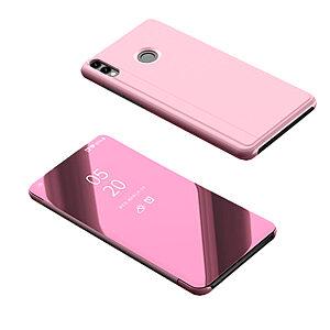 Θήκη Huawei Honor 8X OEM Mirror Surface View Stand Case Cover Flip Window δερματίνη ροζ χρυσό