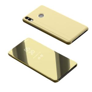 Θήκη Huawei Honor 8X OEM Mirror Surface View Stand Case Cover Flip Window δερματίνη χρυσό