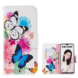 Θήκη Huawei P Smart (2019) OEM σχέδιο Butterflies and Flowers με βάση στήριξης