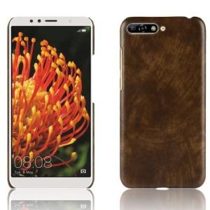 Θήκη Huawei Y6 (2018) OEM Litchi Skin Leather Plastic Series Πλάτη από σκληρό πλαστικό καφέ
