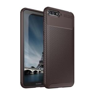 Θήκη Huawei Y6 (2018) OEM Beetle Series Carbon Fiber Πλάτη TPU καφέ