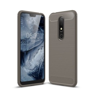 Θήκη Nokia 6.1 Plus OEM Brushed TPU Carbon Πλάτη γκρι