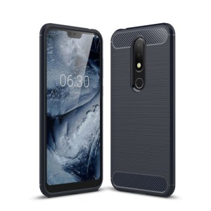 Θήκη Nokia 6.1 Plus OEM Brushed TPU Carbon Πλάτη μπλε