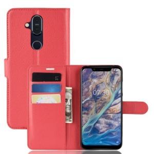 Θήκη Nokia 8.1 OEM Litchi Texture Leather με βάση στήριξης