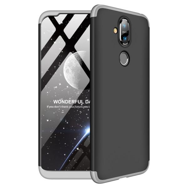 Θήκη Nokia 8.1 GKK Full body Protection 360° από σκληρό πλαστικό μαύρο / ασημί
