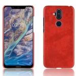 Θήκη Nokia 8.1 OEM Litchi Skin Leather Plastic Series Πλάτη από σκληρό πλαστικό κόκκινο