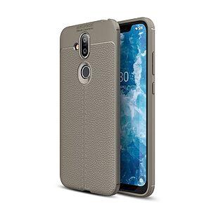 Θήκη Nokia 8.1 OEM Focus Litchi Skin Series Πλάτη TPU γκρι