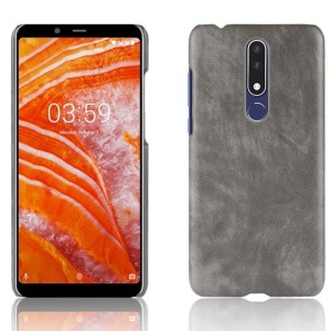 Θήκη Nokia 3.1 Plus LITCHI Litchi Skin Leather Plastic Series Πλάτη δερματίνη γκρι
