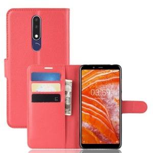 Θήκη Nokia 3.1 Plus OEM Litchi Texture Leather με βάση στήριξης