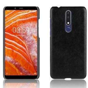 Θήκη Nokia 3.1 Plus LITCHI Litchi Skin Leather Plastic Series Πλάτη δερματίνη μαύρο