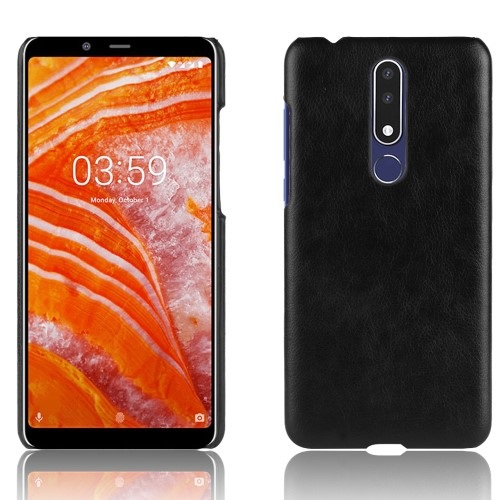 Θήκη Nokia 3.1 Plus LITCHI Litchi Skin Leather Plastic Series Πλάτη δερματίνη μαύρο