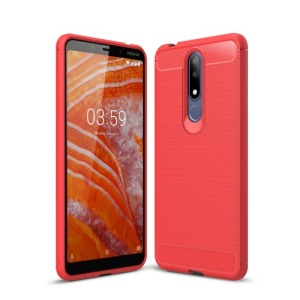 Θήκη Nokia 3.1 Plus OEM Brushed TPU Carbon Πλάτη ανοιχτό κόκκινο