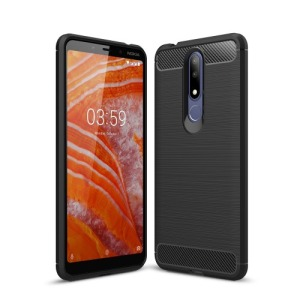 Θήκη Nokia 3.1 Plus OEM Brushed TPU Carbon Πλάτη μαύρο