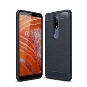 Θήκη Nokia 3.1 Plus OEM Brushed TPU Carbon Πλάτη μπλε