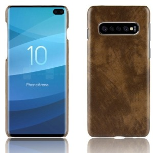 Θήκη Samsung Galaxy S10 Plus LITCHI Litchi Skin Leather Plastic Series Πλάτη δερματίνη καφέ
